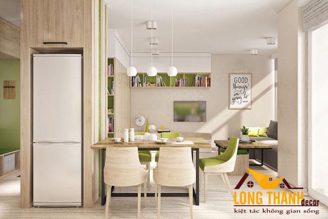 Mẫu thiết kế nội thất phòng khách kết hợp bếp dành cho chung cư