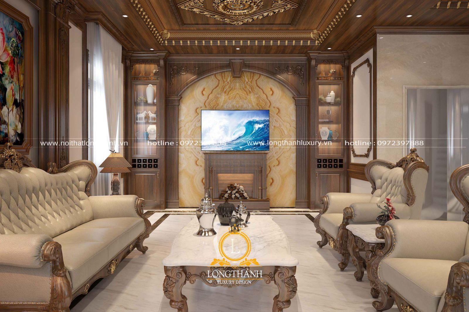 Thiết kế nội thất phòng khách đẹp với góc nhìn tivi