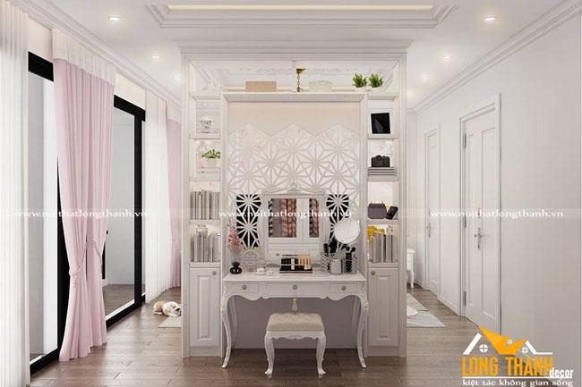 Mẫu thiết kế nội thất tân cổ điển gỗ tự nhiên sơn trắng năm 2017