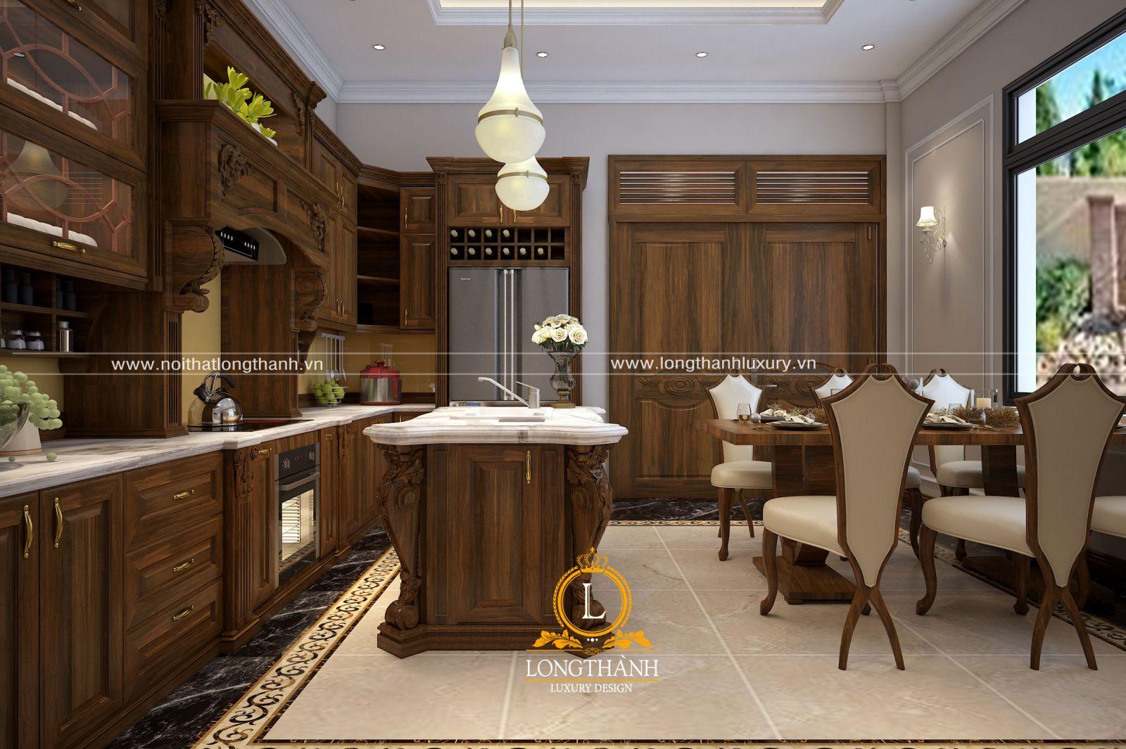 Thiết kế phòng bếp và phòng ăn cho nhà phố sử dụng gỗ Sồi tự nhiên