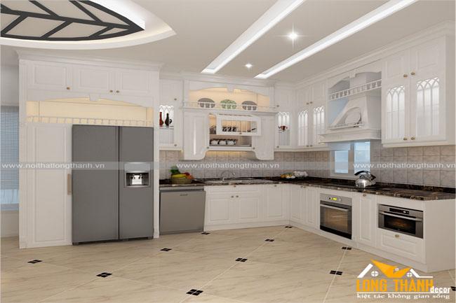 Mẫu thiết kế phòng bếp theo phong cách tân cổ điển cho nhà biệt thự rộng