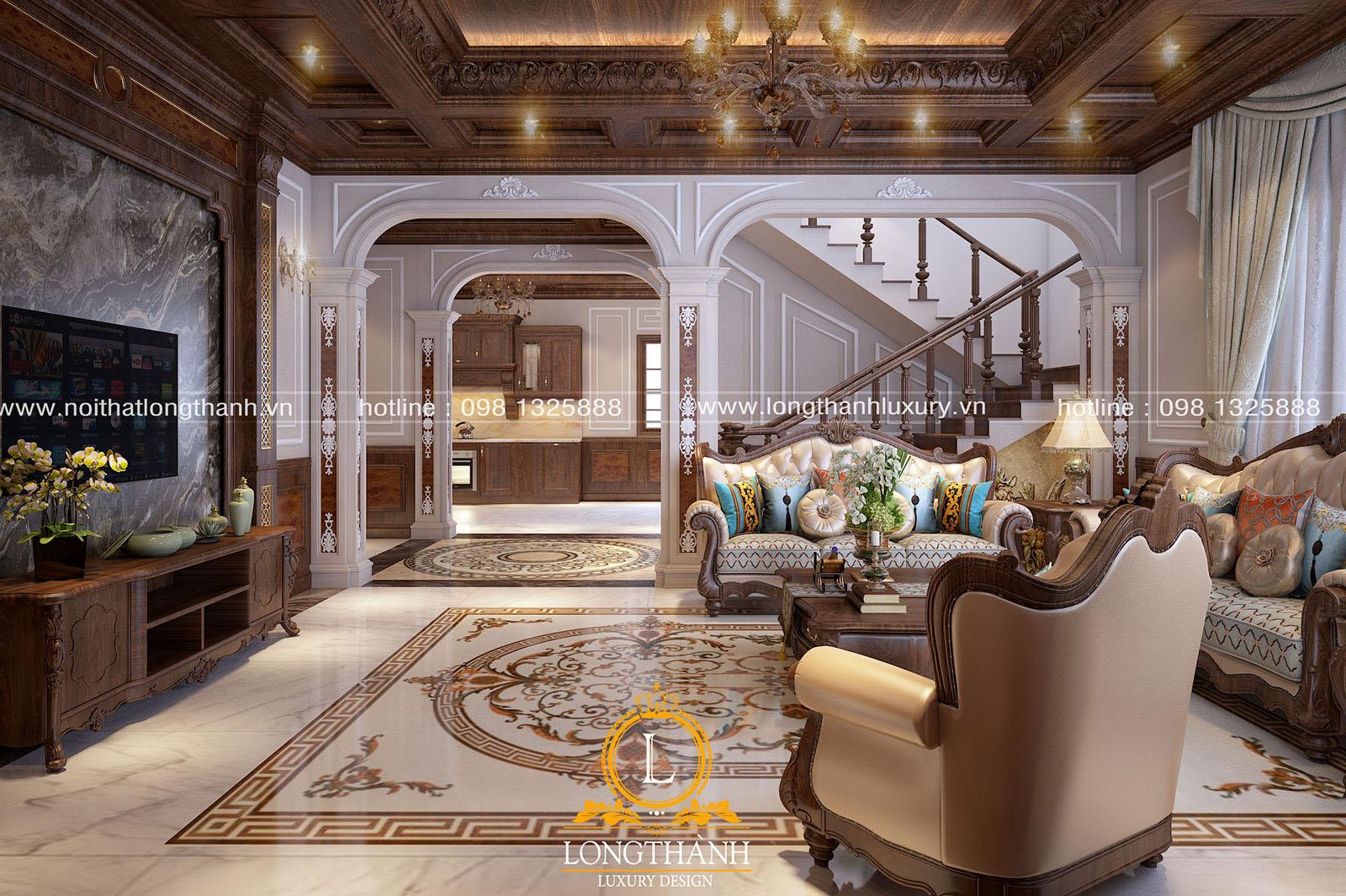 Mẫu phòng khách tân cổ điển đẹp LT32 góc nhìn thứ 3