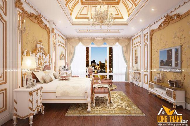 Mẫu thiết kế nội thất phòng ngủ cổ điển cho nhà biệt thự rộng