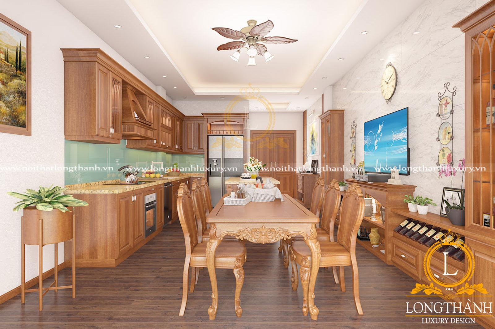 Mẫu tủ bếp gỗ Gõ đẹp kết hợp kính cường lực cho nhà phố hẹp