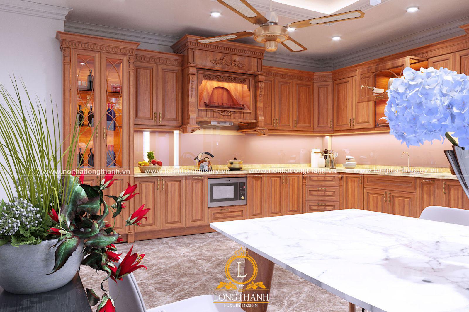Tủ bếp tân cổ điển gỗ Gõ đầy đủ công năng, tiện nghi
