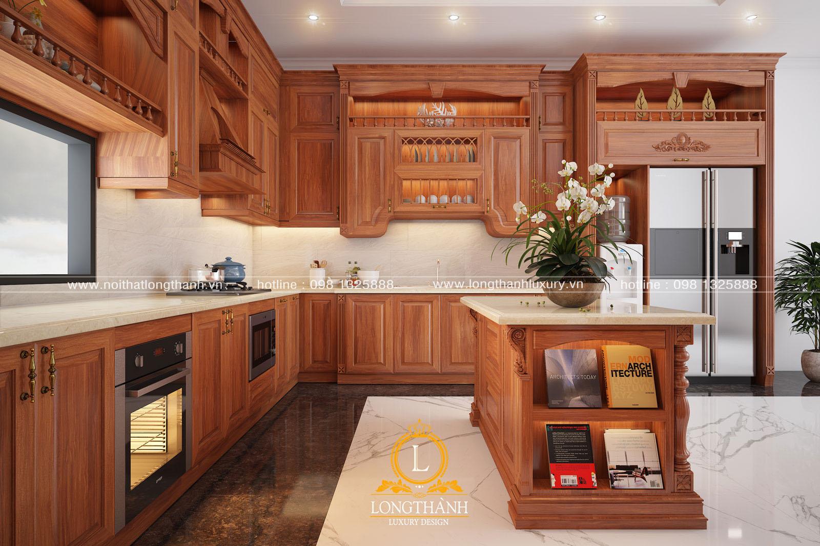 Mẫu thiết kế tủ bếp gỗ tự nhiên đẹp mã số LT 53 góc nhìn thứ 4