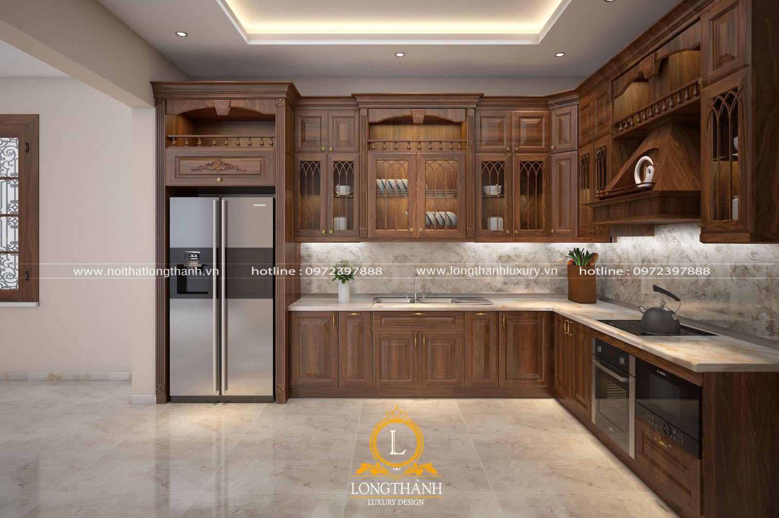 Lựa chọn tủ bếp gỗ tự nhiên luôn mang đến vẻ đẹp tinh tế và ấn tượng