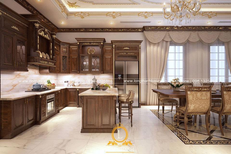 Mẫu tủ bếp đẳng cấp cho nhà biệt thự