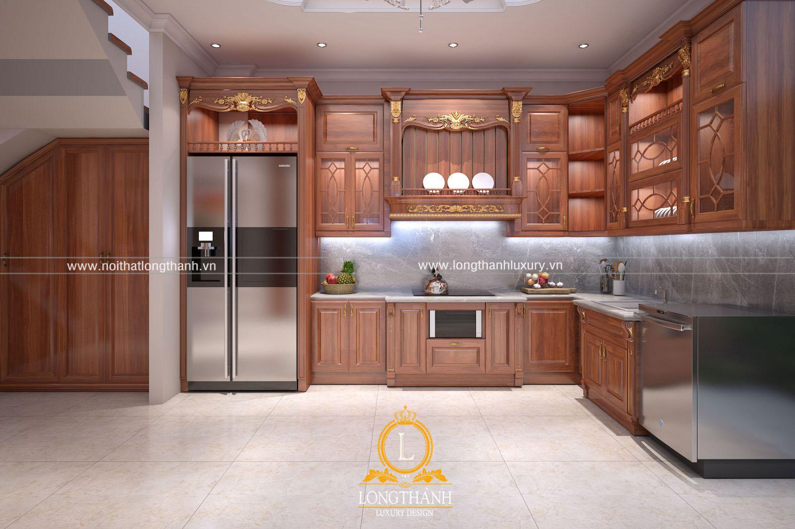 Tủ bếp gỗ Gõ đẹp LT53 góc nhìn thứ 1