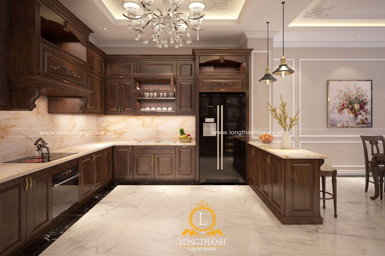 Thiết kế tủ bếp gỗ tự nhiên tân cổ điển sơn màu nâu nhẹ nhàng ấm cúng