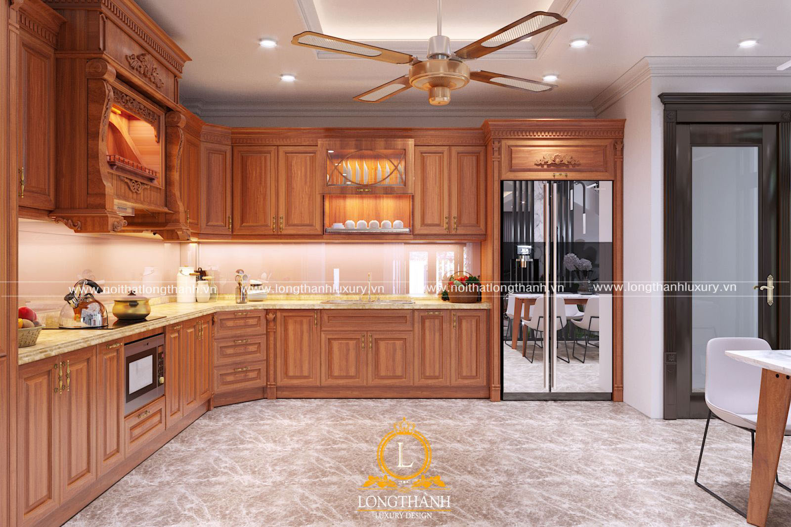 Tủ bếp gỗ Gõ đỏ với màu sắc ấn tượng