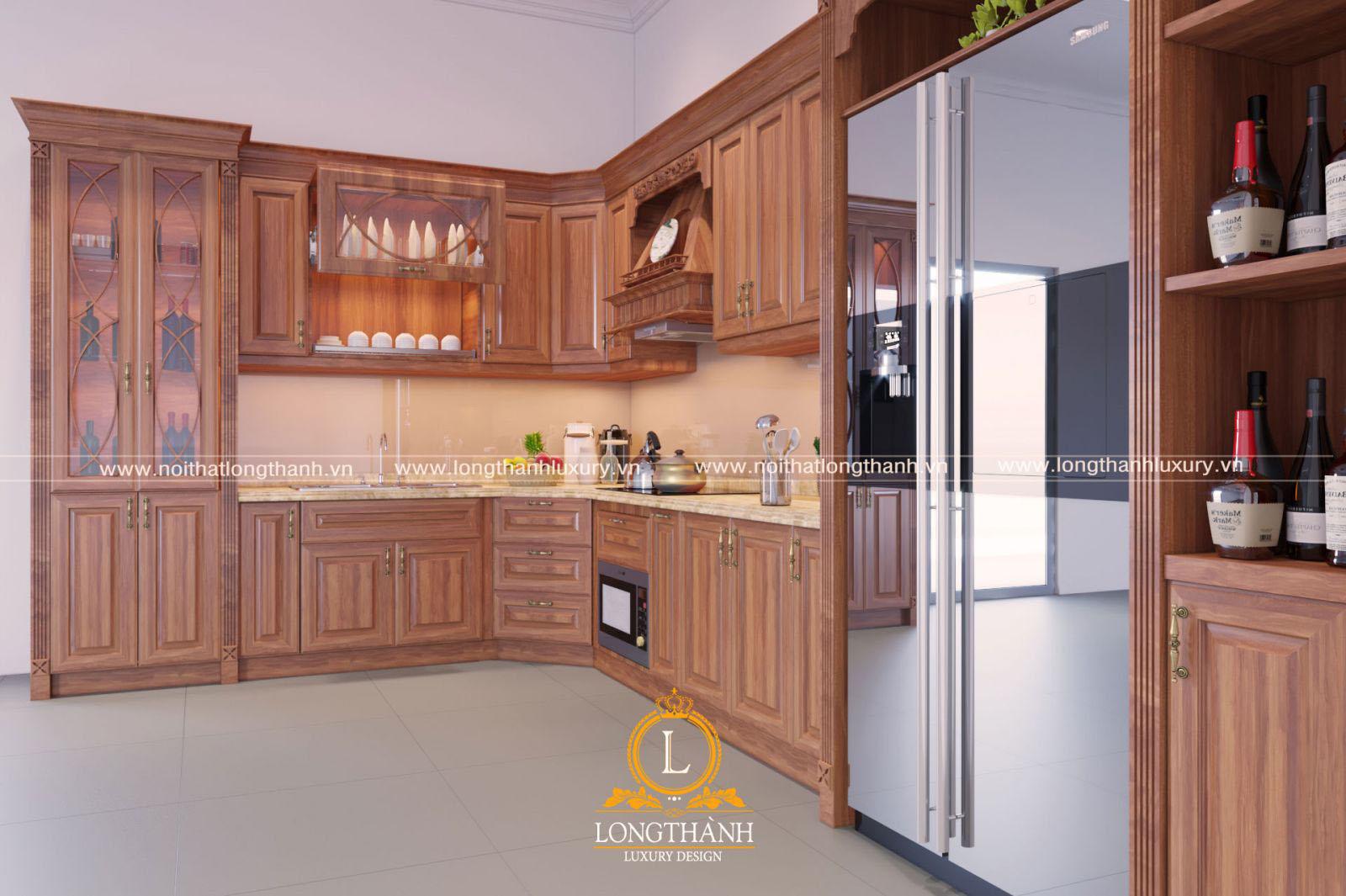 Tủ bếp gỗ Gõ đỏ thiết kế hiện đại tiện nghi sang trọng
