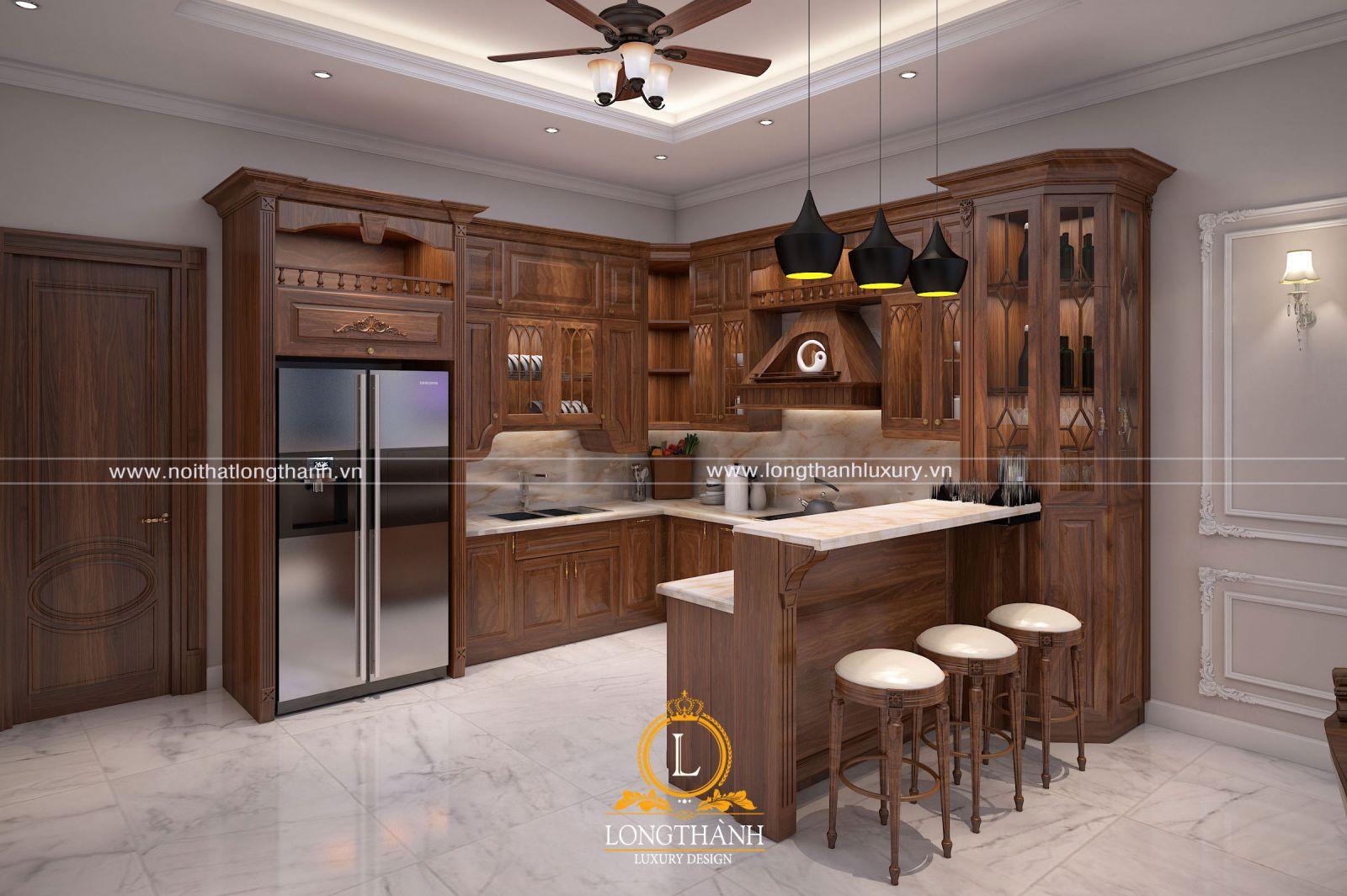Không gian bếp đẹp với thiết kế nội thất tân cổ điển