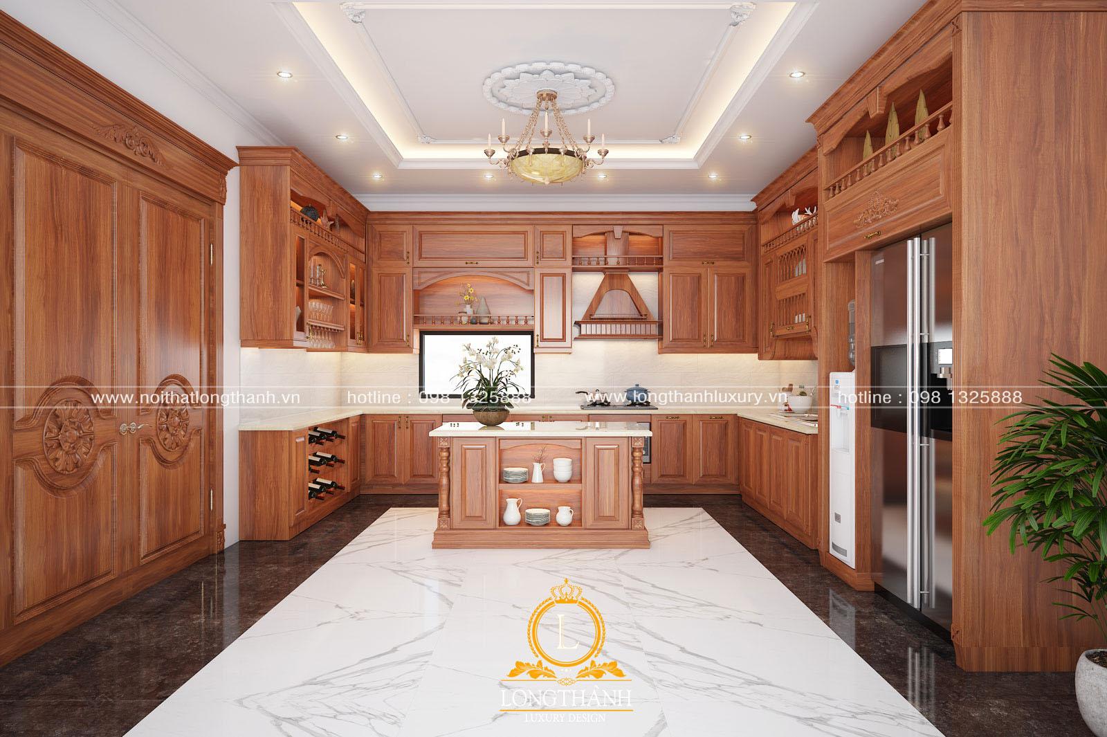 Mẫu thiết kế tủ bếp gỗ tự nhiên đẹp mã số LT 53 góc nhìn thứ 1