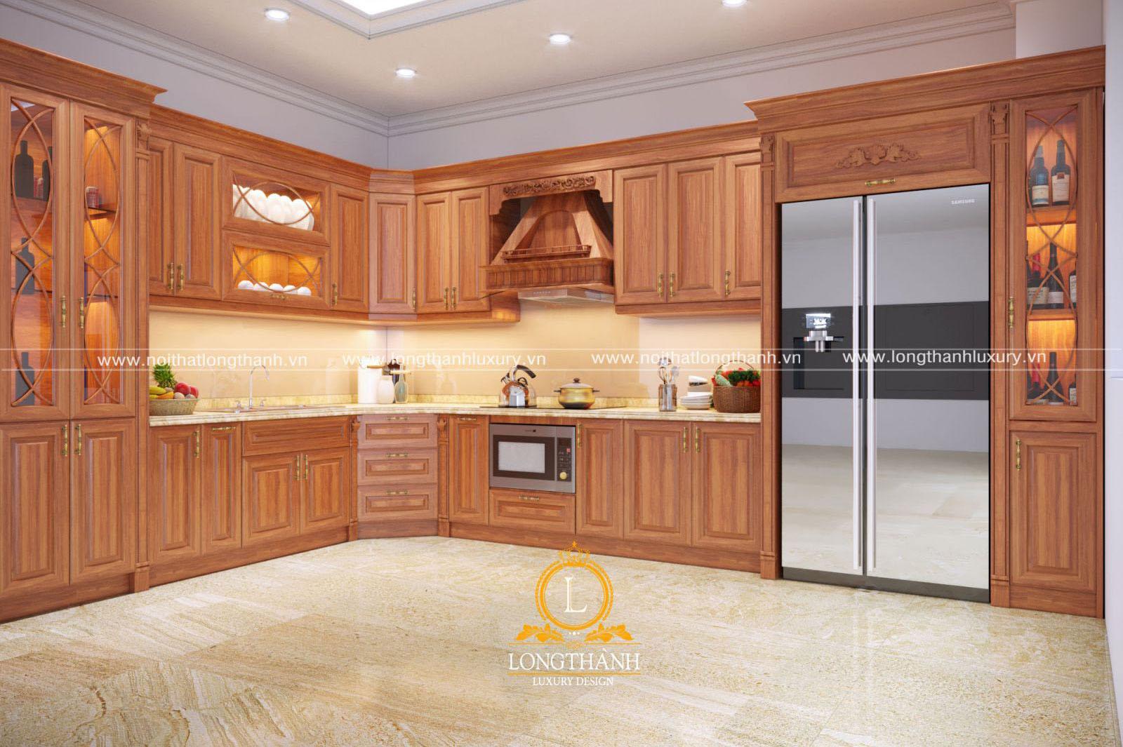 Tủ bếp gỗ Sồi Mỹ đẹp LT39 góc nhìn thứ 1