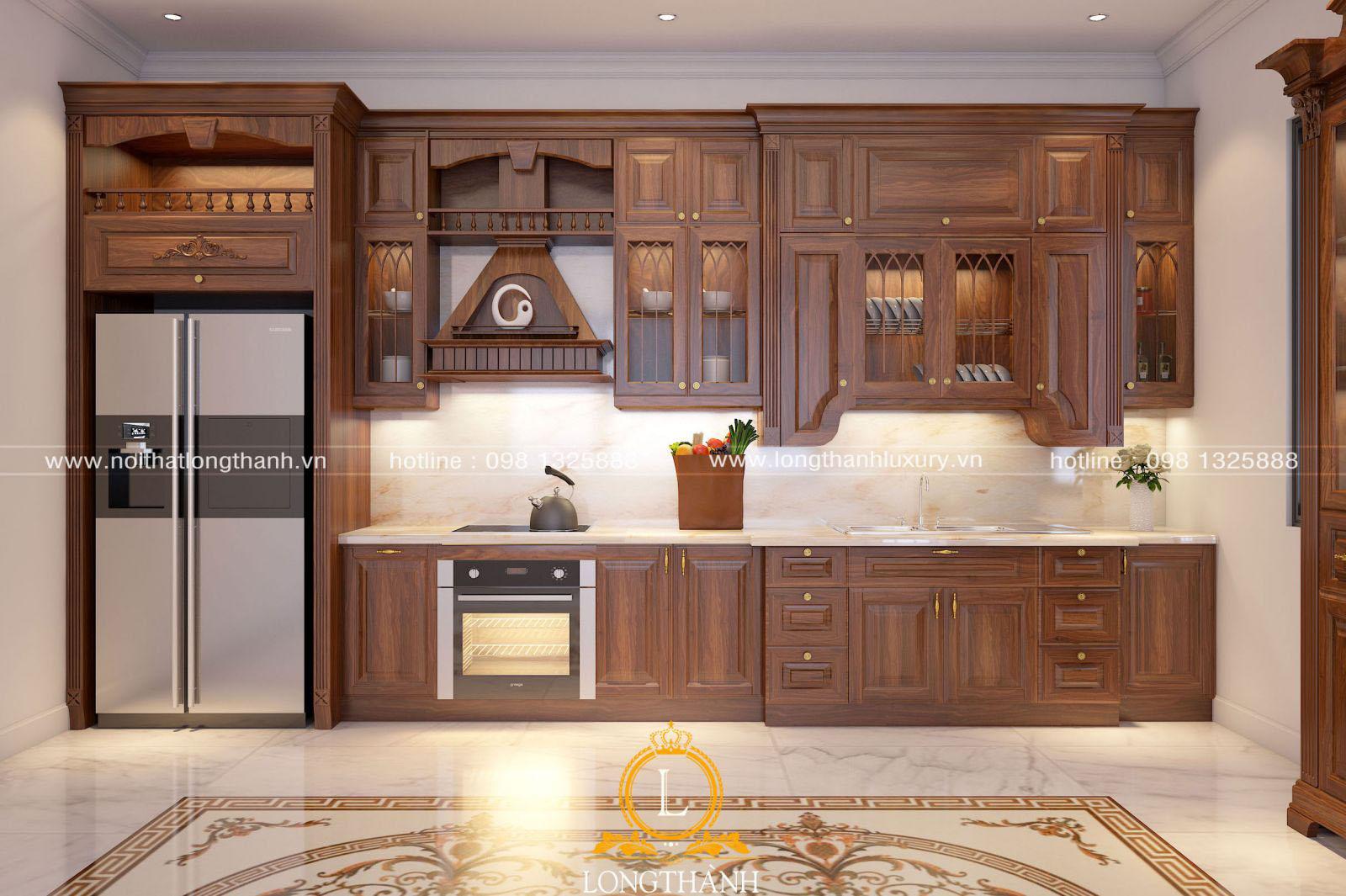 Mẫu tủ bếp gỗ tự nhiên đẹp LT 54 góc nhìn thứ 2