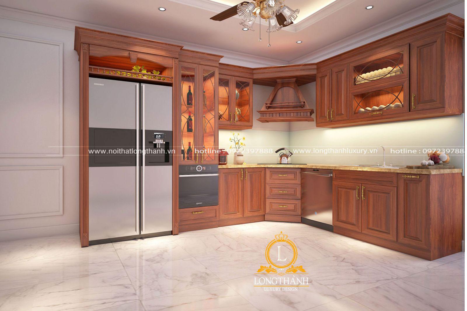 Mẫu tủ bếp gỗ tự nhiên đẹp LT 55 góc nhìn thứ 1