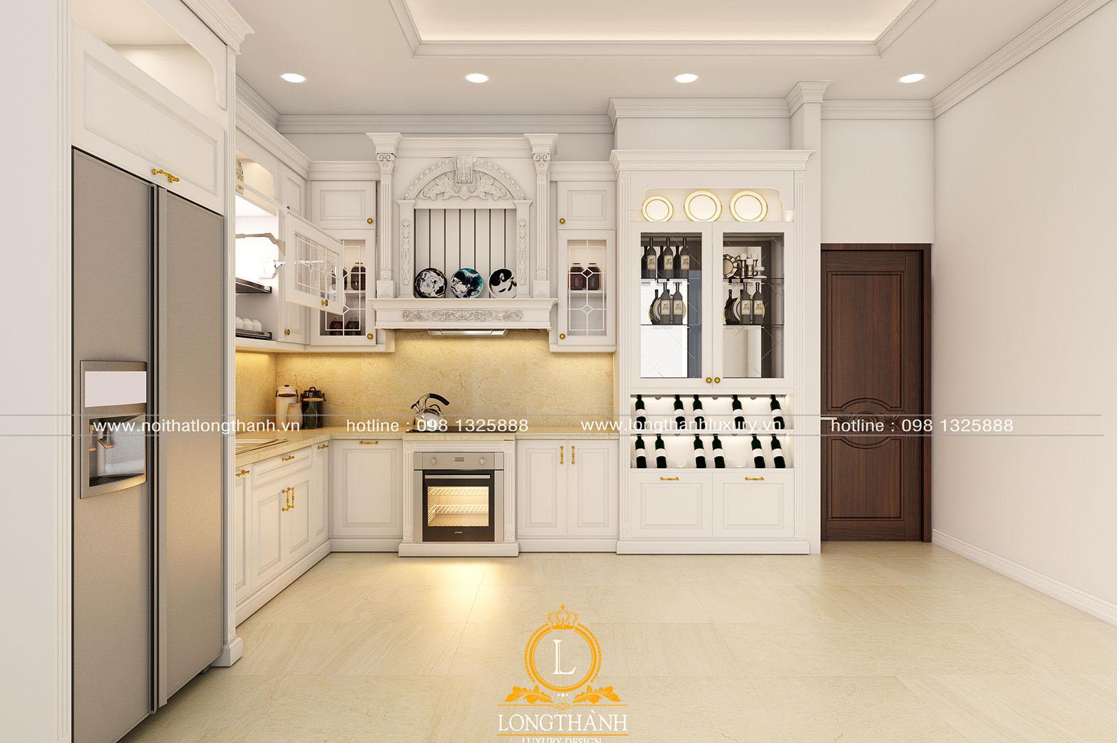 Tủ bếp gỗ tự nhiên sơn trắng đẹp LT 59 góc nhìn thứ 3