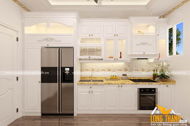 Mẫu thiết kế tủ bếp tân cổ điển màu trắng cho không gian bếp hẹp