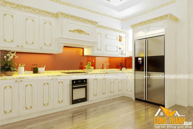 Mẫu tủ bếp tân cổ điển dát vàng cho nhà biệt thự