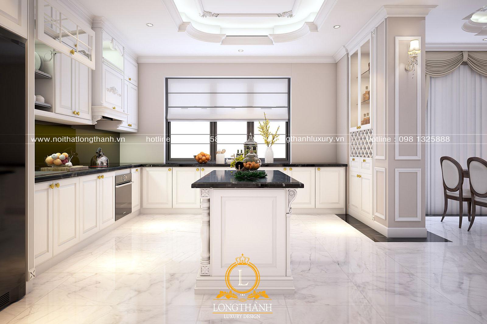 Tủ bếp gỗ tự nhiên sơn trắng đẹp LT 63 góc nhìn thứ 1
