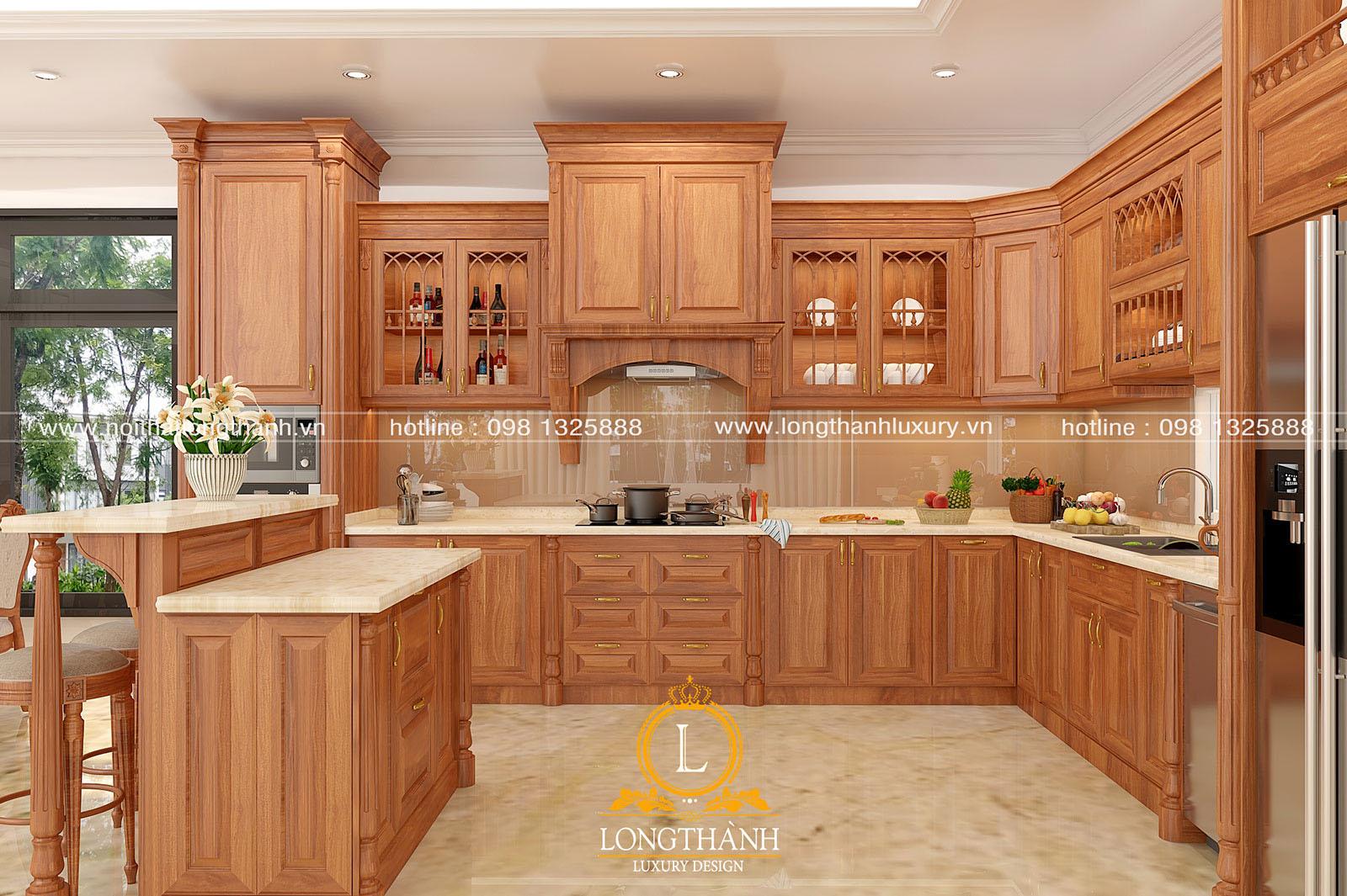 Tủ bếp gỗ Gõ đỏ Nam Phi cao cấp