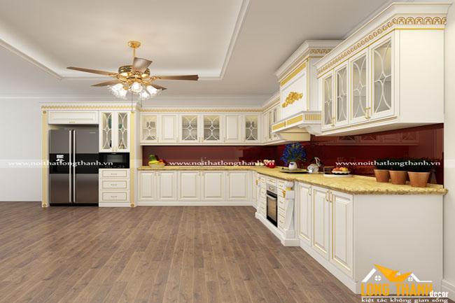 Mẫu tủ bếp tân cổ điển đẹp cho nhà phố, nhà biệt thự