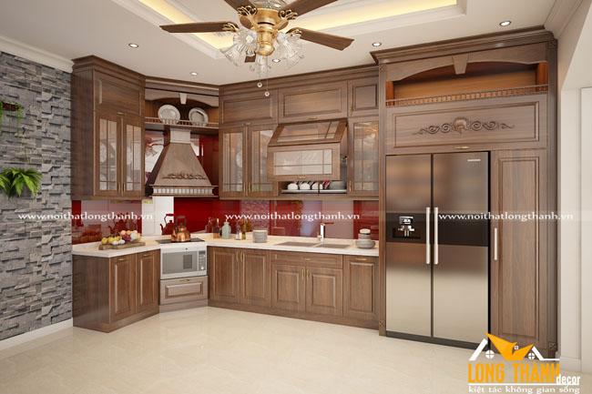 Mẫu tủ bếp tân cổ điển đẹp cho nhà phố