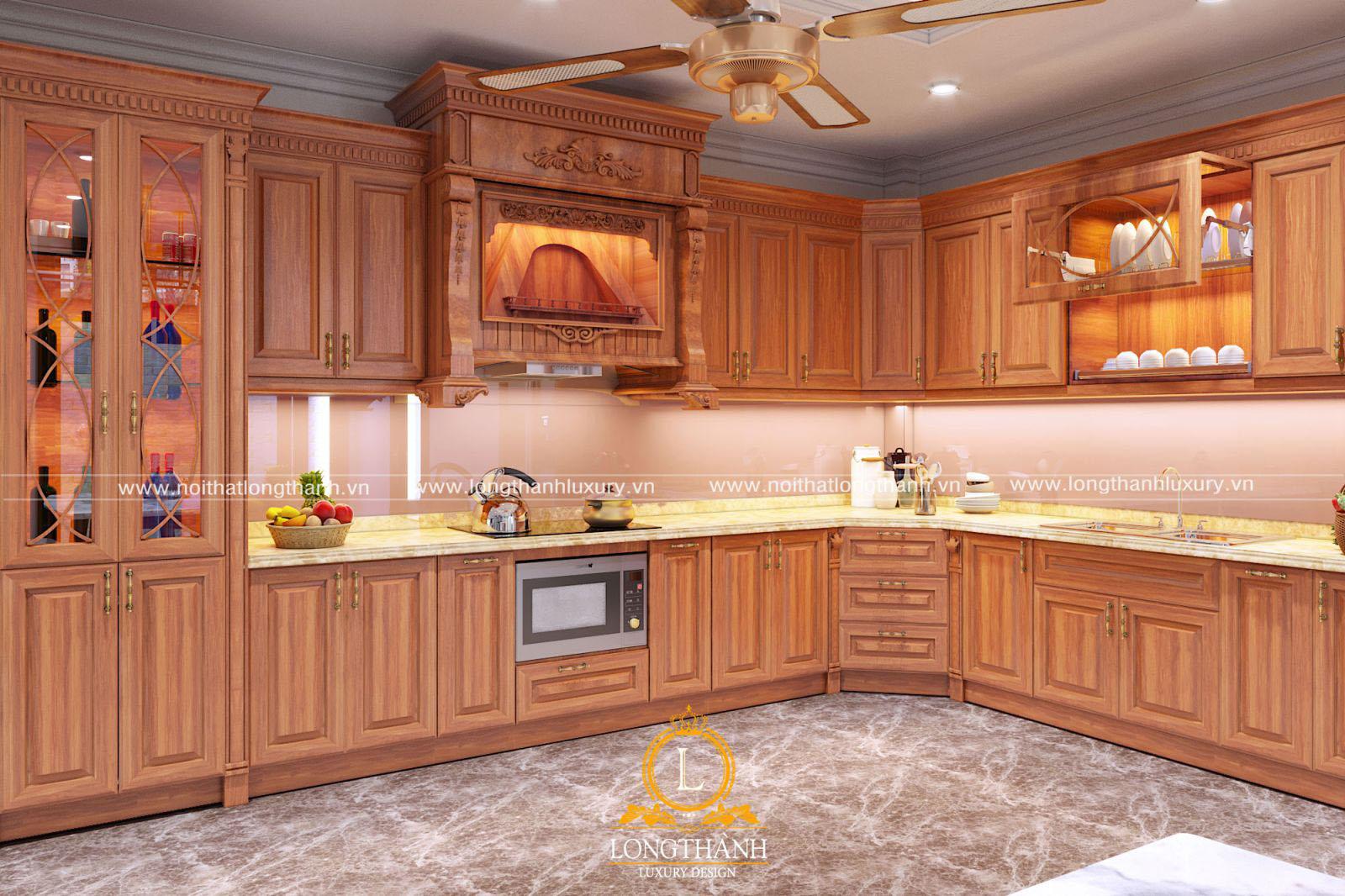 Mẫu tủ bếp tân cổ điển gỗ Gõ đỏ đẹp cho nhà biệt thự