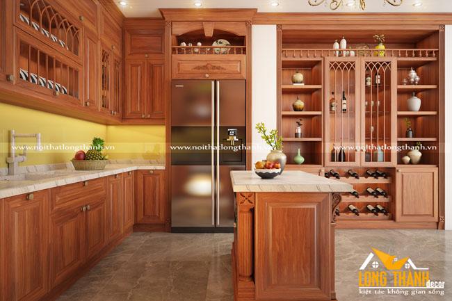 Mẫu tủ bếp tân cổ điển gỗ Gõ tự nhiên hót cho năm 2018