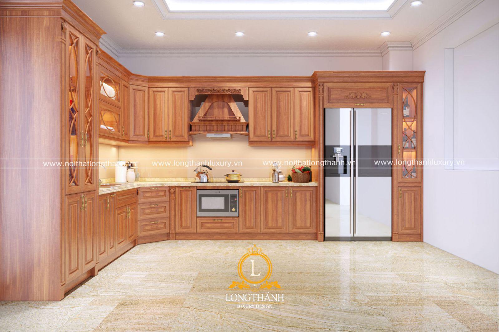 Tủ bếp gỗ Sồi Mỹ đẹp LT39 góc nhìn thứ 3