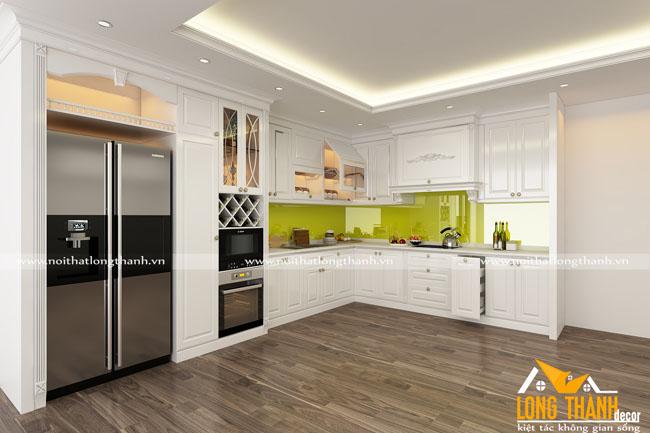 Mẫu tủ bếp tân cổ điển gỗ tự nhiên sơn trắng hót nhất năm 2017