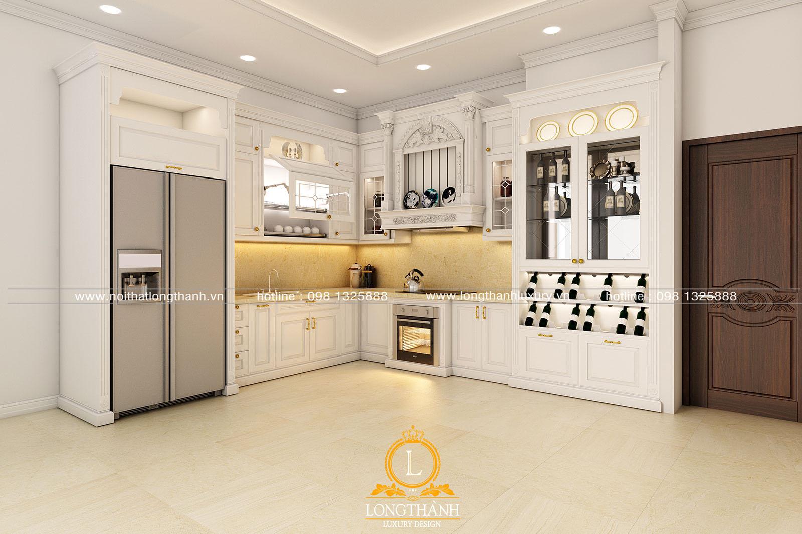 Tủ bếp gỗ tự nhiên sơn trắng đẹp LT 59 góc nhìn thứ 1