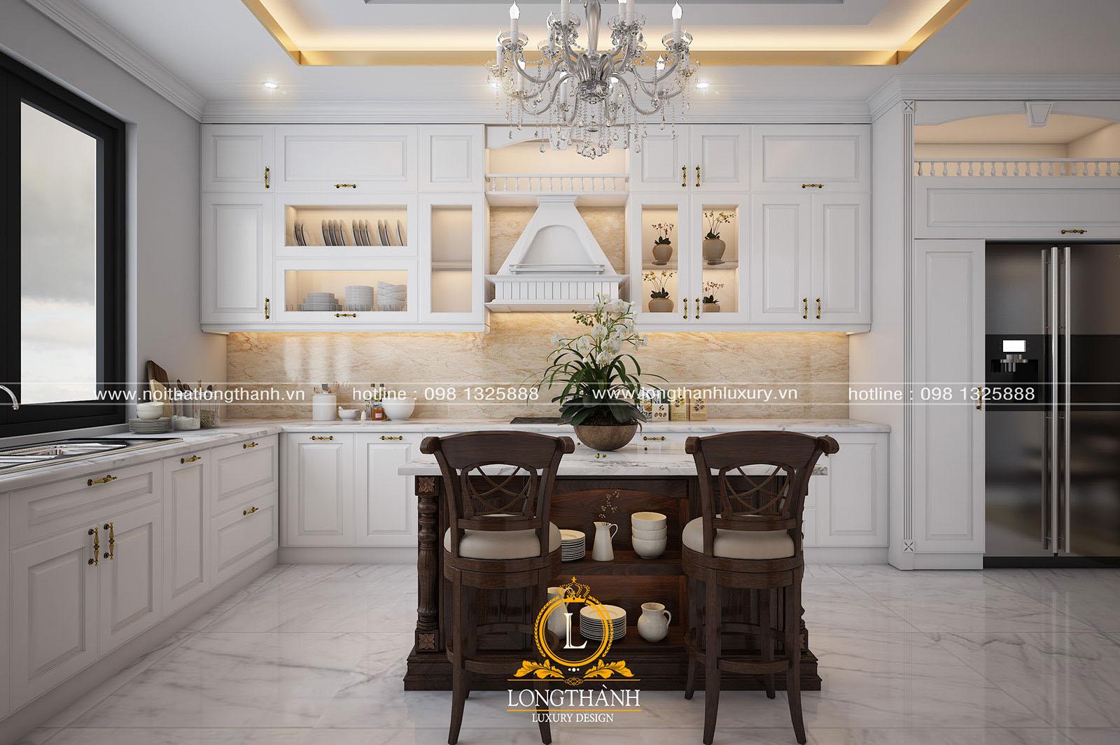 Tủ bếp gỗ tự nhiên sơn trắng đẹp LT 62 góc nhìn thứ 1