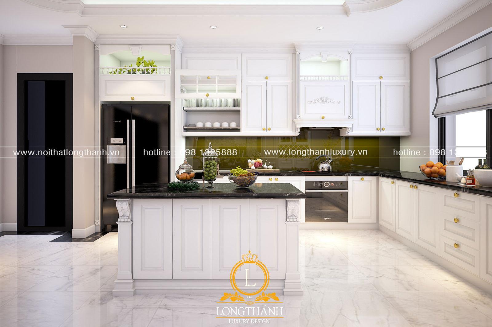 Tủ bếp gỗ tự nhiên sơn trắng đẹp LT 63 góc nhìn thứ 2