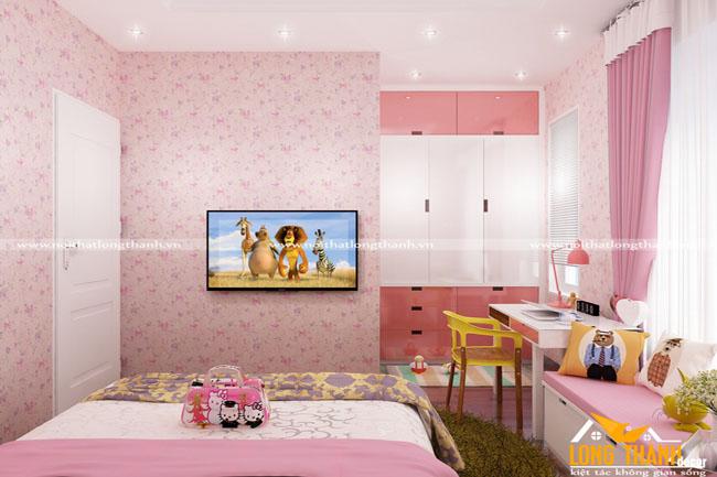 Mơ mộng cùng phòng ngủ hiện đại lung linh sắc hồng dành cho bé gái