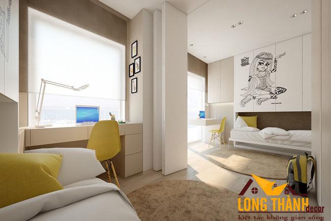 Thiết kế phòng ngủ hiện đại chia đôi dành cho hai cô gái