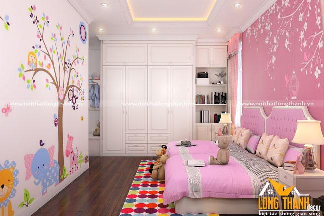 Nhẹ nhàng ấm cúng cùng Phòng ngủ tân cổ điển gỗ Gõ tự nhiên sơn trắng kết hợp màu Pastel cho bé gái