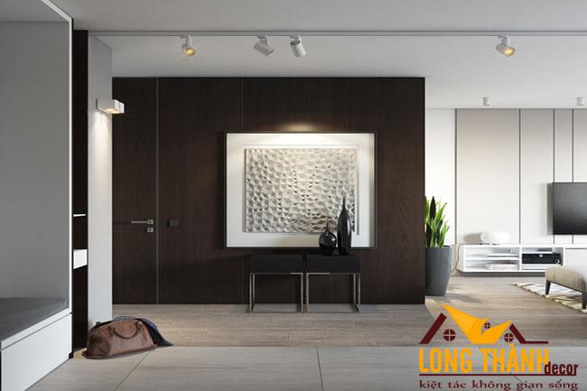 Thiết kế nội thất chung cư sang trọng với chất liệu gỗ Veneer Óc chó