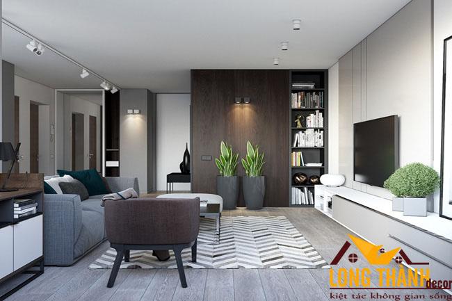 Nội thất chung cư sang trọng với chất liệu gỗ Veneer Óc chó