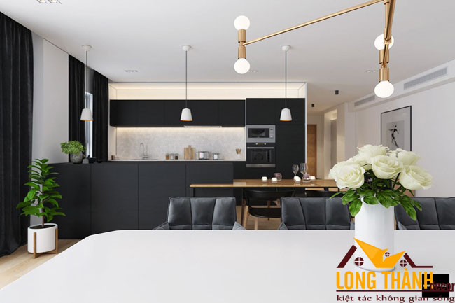 Nội thất màu đen trắng trong thiết kế nội thất chung cư