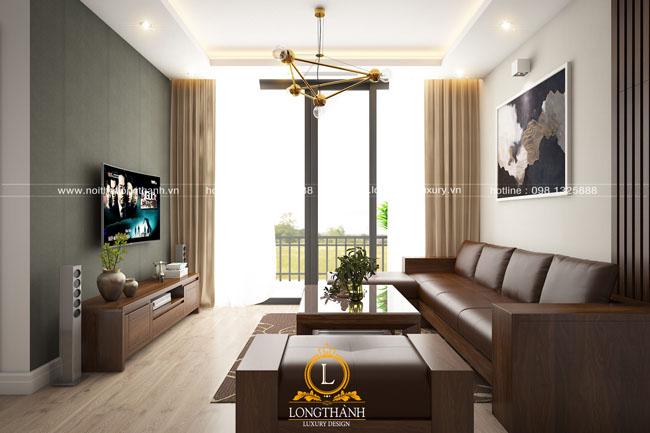 Thiết kế nội thất phòng khách hiện đại gỗ tự nhiên Óc chó – Sự lựa chọn hoàn hảo cho những căn hộ chung cư
