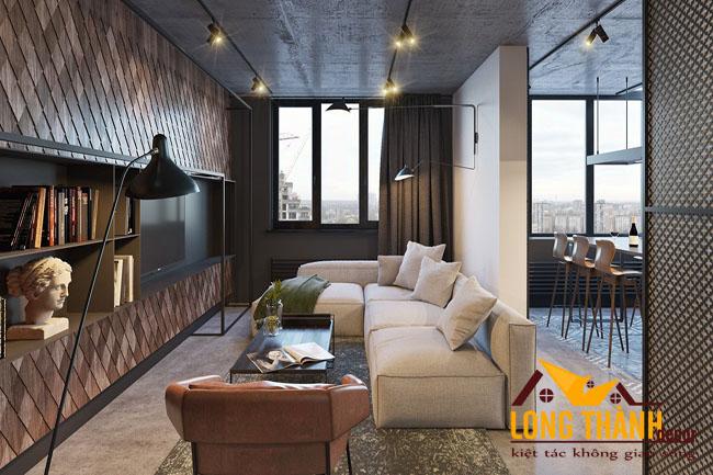 Nội thất phòng khách hiện đại năm 2017 phong cách công nghiệp