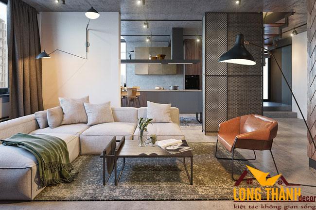 Nội thất phòng khách phong cách công nghiệp
