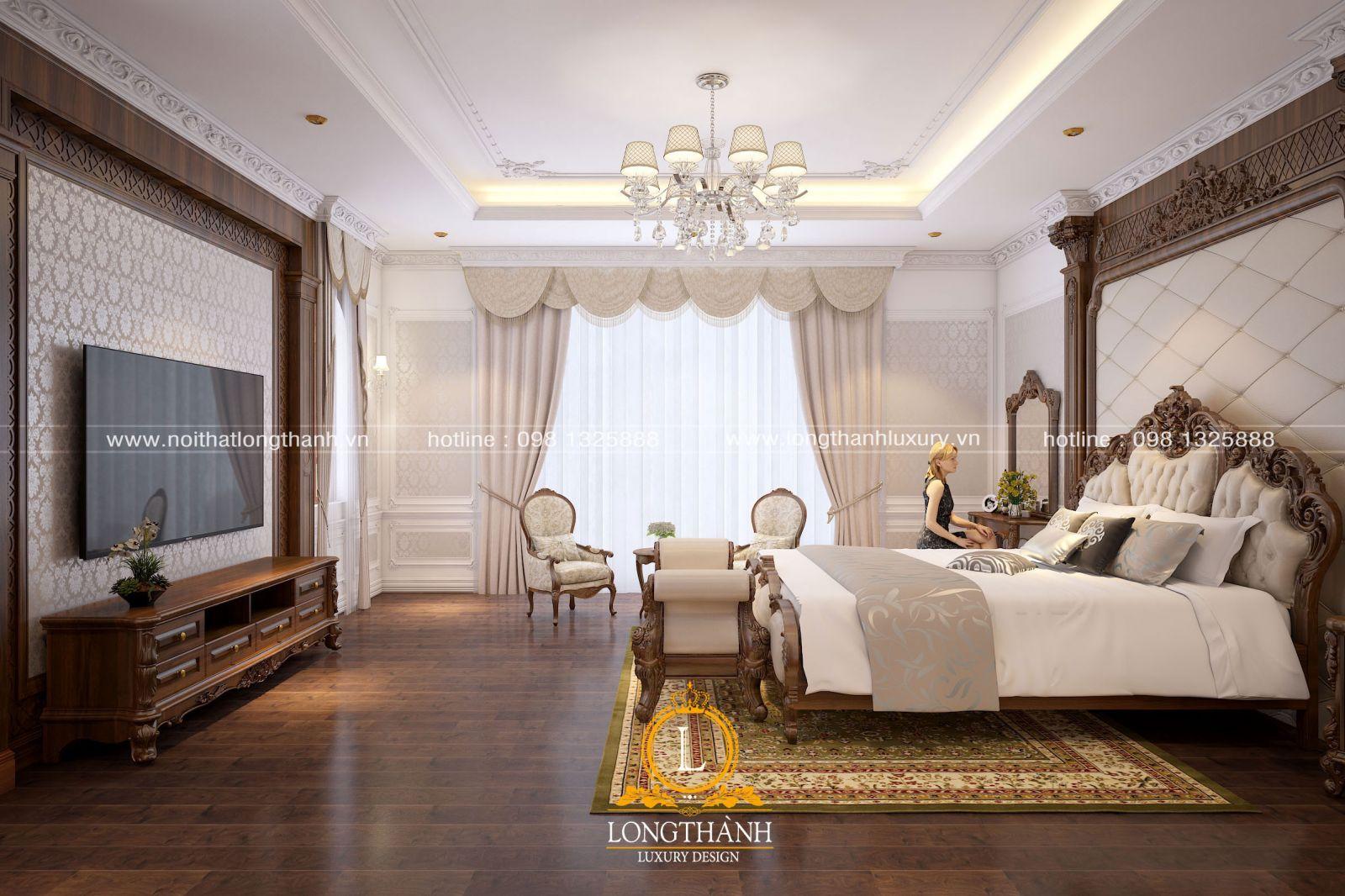 Nội thất phòng ngủ nhà biệt thự đầy đủ tiện nghi với chất liệu gỗ tự nhiên cao cấp