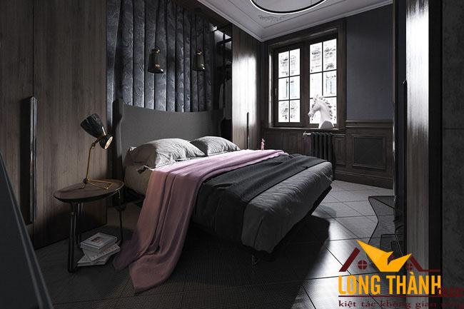 Phòng ngủ với gam màu tối nhẹ nhàng sang trọng