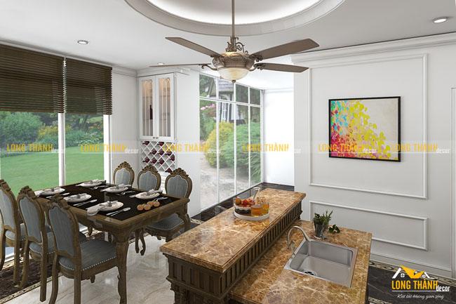 Thiết kế nội thất phòng bếp biệt thự với gỗ tự nhiên sơn trắng