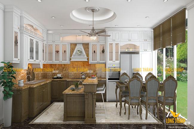 Phòng bếp biệt thự với gỗ tự nhiên sơn trắng