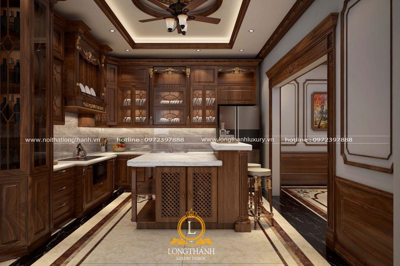 Thiết kế nội thất phòng bếp nhà biệt thự mang phong cách tân cổ điển