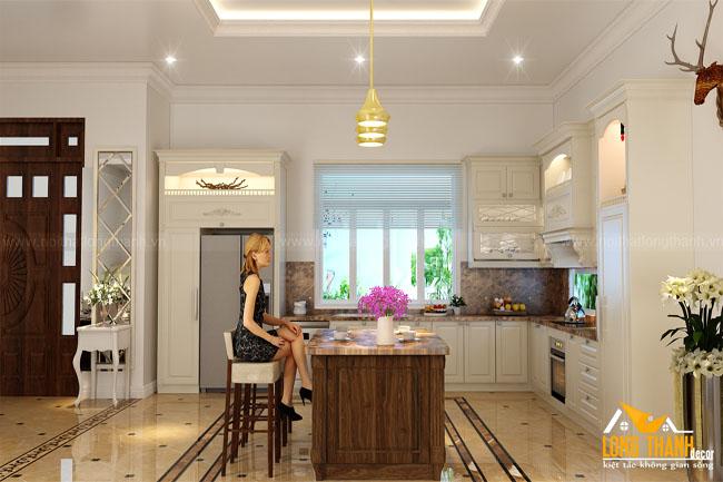 Phòng bếp tân cổ điển đẹp cho nhà biệt thự